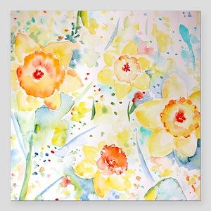 """Watercolor Daffodils Pat Square Car Magnet 3"""" x 3"""""""