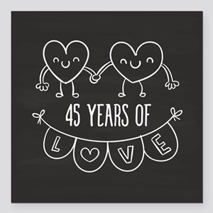 "45th Anniversary Gift Ch Square Car Magnet 3"" x 3"""