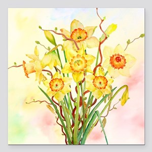 "Watercolor Daffodils Yel Square Car Magnet 3"" x 3"""