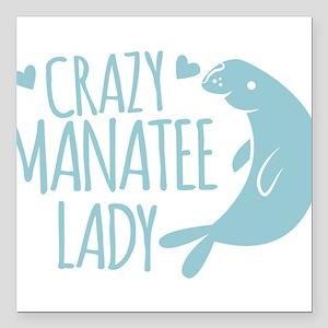 "Crazy Manatee Lady Square Car Magnet 3"" x 3"""
