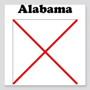 "Alabama State Flag Square Car Magnet 3"" x 3"""