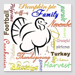"Thanksgiving words Square Car Magnet 3"" x 3"""