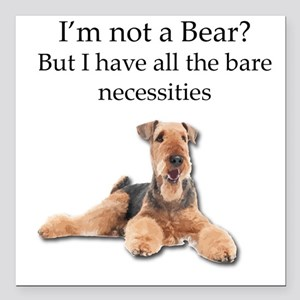 """Airedale Surprised He Is Square Car Magnet 3"""" x 3"""""""