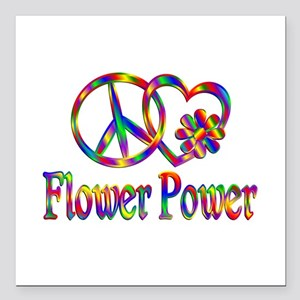 "Peace Love Flower Power Square Car Magnet 3"" x 3"""