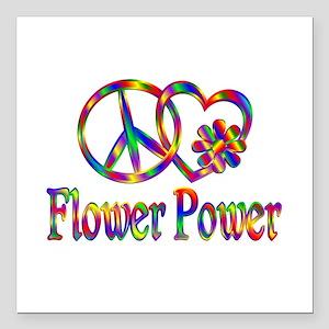 "Peace Love Flower Power Square Car Magnet 3"" x 3"""