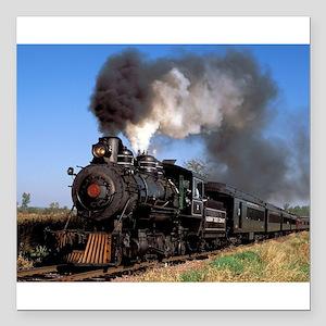 "Antique steam engine train Square Car Magnet 3"" x"