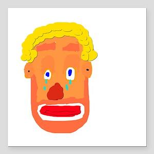 "Sad Clown Square Car Magnet 3"" x 3"""