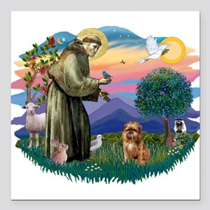 "St Francis #2/ Brussels G Square Car Magnet 3"" x 3"