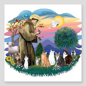 "St Francis 2 - 7 Cats Square Car Magnet 3"" x 3"