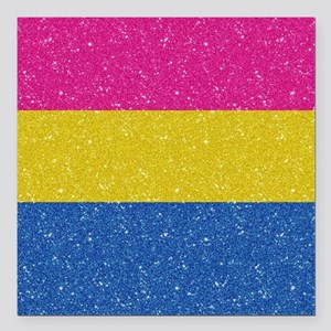 "Glitter Pansexual Pride Square Car Magnet 3"" x 3"""