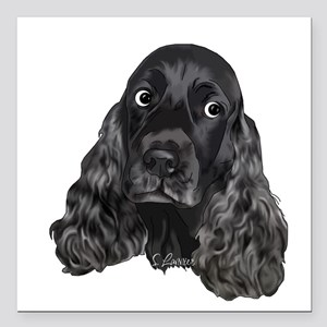 Cute Black Cocker Spaniel Portrait Print Square Ca
