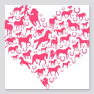 """Horse Heart Pink Square Car Magnet 3"""" x 3"""""""