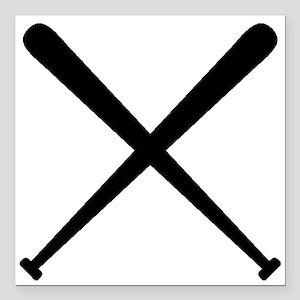 "Baseball Bats Square Car Magnet 3"" x 3"""