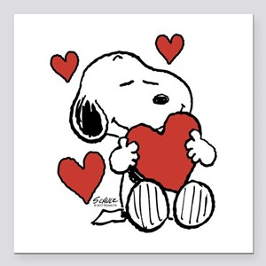"Snoopy on Heart Square Car Magnet 3"" x 3"""
