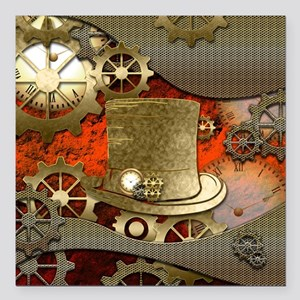 "Steampunk witch hat Square Car Magnet 3"" x 3"""