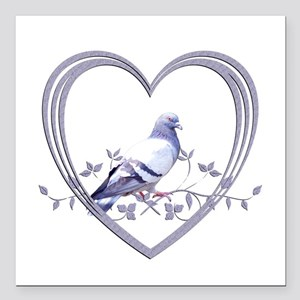 """Pigeon in Heart Square Car Magnet 3"""" x 3"""""""