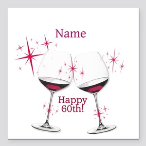 "Custom 60th Birthday Square Car Magnet 3"" x 3"""