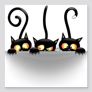 "Three Naughty Playful Kitties Square Car Magnet 3"""