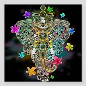 """Elephant Zentangle Doodle Art Square Car Magnet 3"""""""