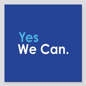 """Yes We Can Square Car Magnet 3"""" x 3"""""""