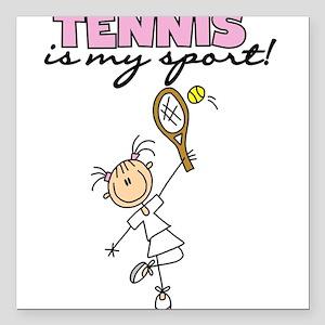 "tennismysportgirl Square Car Magnet 3"" x 3"""