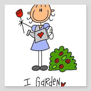 "I Garden Stick Figure Square Car Magnet 3"" x 3"""