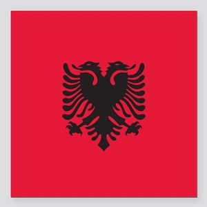 "Albania Flag Square Car Magnet 3"" x 3"""