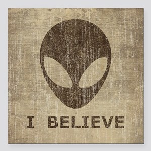 "Vintage Alien (I Believe) Square Car Magnet 3"" x 3"