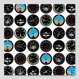 "Flight Instruments Square Car Magnet 3"" x 3"""