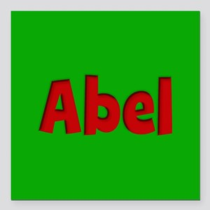"""Abel Green and Red Square Car Magnet 3"""" x 3"""""""