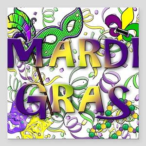 "MARDI GRAS Square Car Magnet 3"" x 3"""