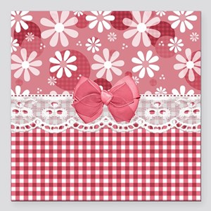 "Pretty Pink Gingham Daisies Square Car Magnet 3"" x"