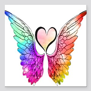 """Angel Wings Heart Square Car Magnet 3"""" x 3"""""""