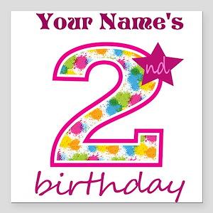 "2nd Birthday Splat - Per Square Car Magnet 3"" x 3"""