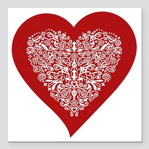 Red sparkling heart with detailed white ornament S