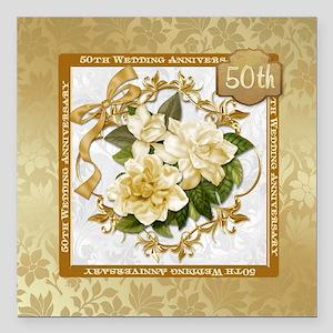 "Floral Gold 50th WeddingSquare Car Magnet 3"""
