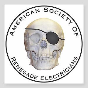 "Renegade Electricians Square Car Magnet 3"" x 3"""