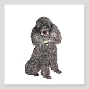 "Poodle (Min-Slvr) Square Car Magnet 3"" x 3"""