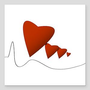 "Heartbeats Square Car Magnet 3"" x 3"""