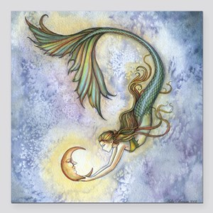 "Deep Sea Moon Mermaid Fa Square Car Magnet 3"" x 3"""