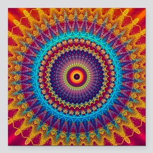 """Fire and Ice mandala Square Car Magnet 3"""" x 3"""""""