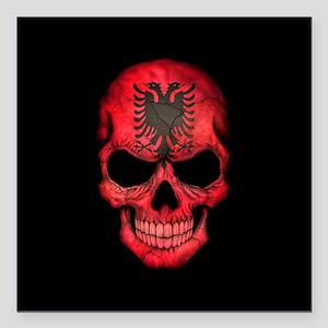 """Albanian Flag Skull on Black Square Car Magnet 3"""""""