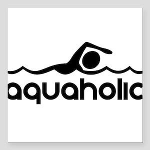 "Aquaholic Square Car Magnet 3"" x 3"""