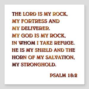 "PSALM 18:2 Square Car Magnet 3"" x 3"""