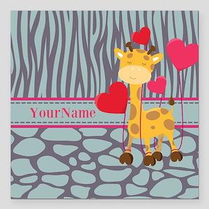 "Custom Giraffe, Zebra An Square Car Magnet 3"" x 3"""