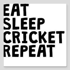 "Eat Sleep Cricket Repeat Square Car Magnet 3"" x 3"""