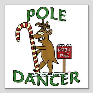 Funny Dancer Christmas Reindeer Pun Square Car Mag
