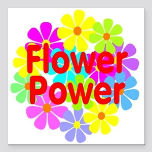 "Flower Power Square Car Magnet 3"" x 3"""