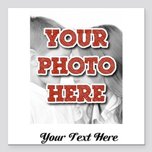 """CUSTOM 8x10 Photo and Text Square Car Magnet 3"""" x"""