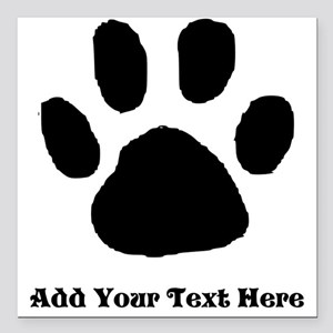 "Paw Print Template Square Car Magnet 3"" x 3"""
